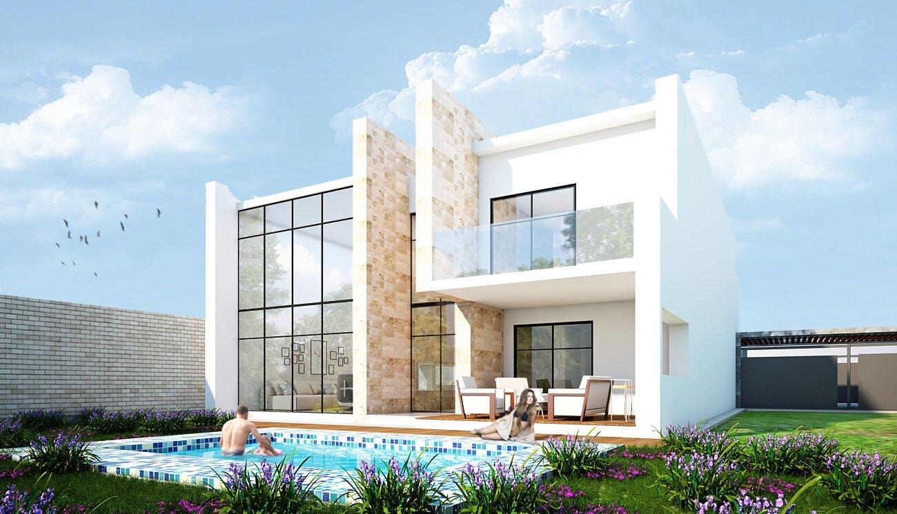 Dom z basenem - projekt